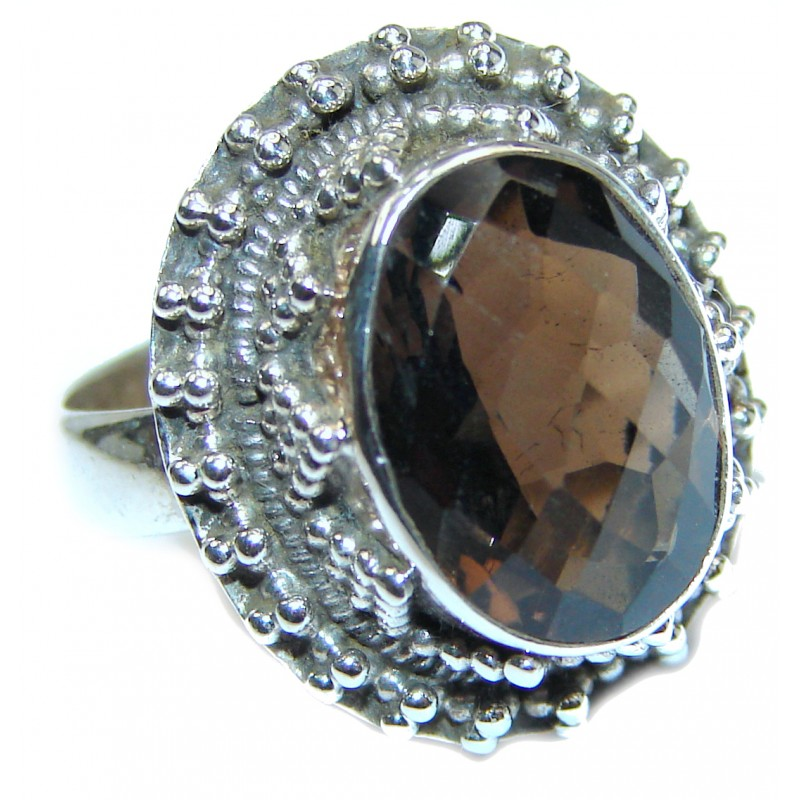 Authentic Smoky Topaz .925 Sterling Silver handcrafted ring; s. 7 1/4