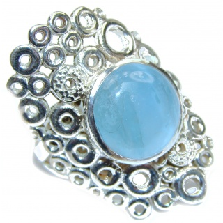 Treasure Blue Aquamarine .925 Sterling Silver handmade ring s. 7 adjustable