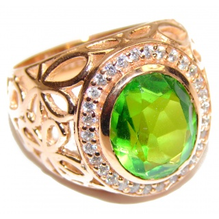 Intense Green color Topaz Rose Gold over .925 Sterling Silver handcrafted Ring s. 8