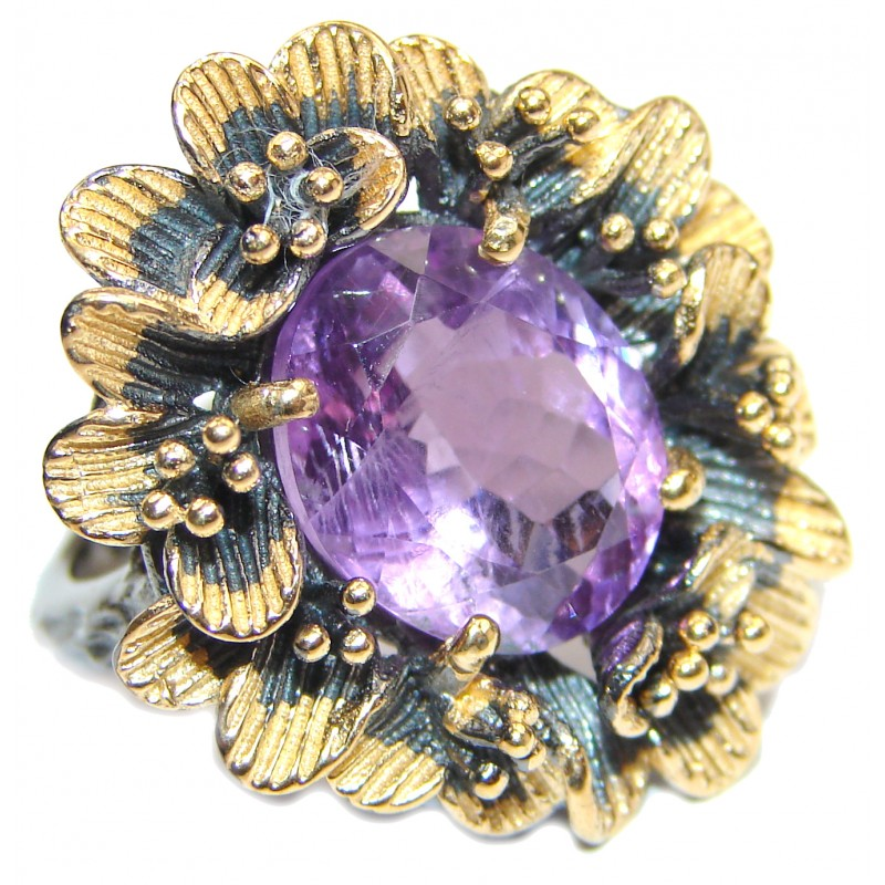 Spectacular Natural Amethyst 18K Gold over .925 Sterling Silver handcrafted ring size 6 3/4