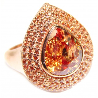 Genuine Golden Topaz 18K Gold over .925 Sterling Silver handmade Cocktail Ring s. 7 1/4