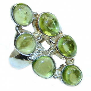 Energizing genuine Peridot .925 Sterling Silver handcrafted Ring size 7 1/4