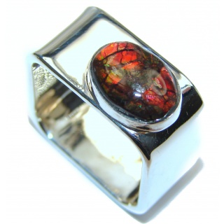 Pure Energy Fire Genuine Canadian Ammolite .925 Sterling Silver handmade ring size 5