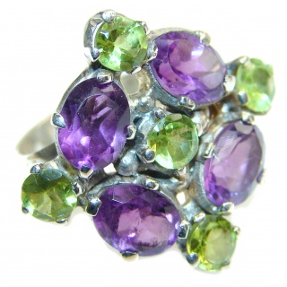 Spectacular genuine Amethyst Peridot .925 Sterling Silver handcrafted Ring size 7 adjustable