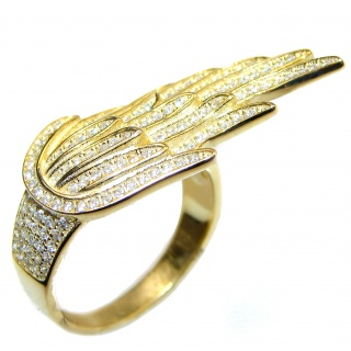 Angel's Wing White Topaz 14K Gold over .925 Sterling Silver handmade Statement Ring s. 8