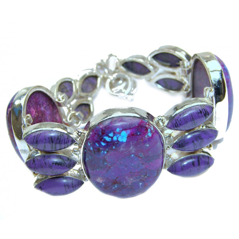 Huge Natural Purple Turquoise .925 Sterling Silver handmade Bracelet