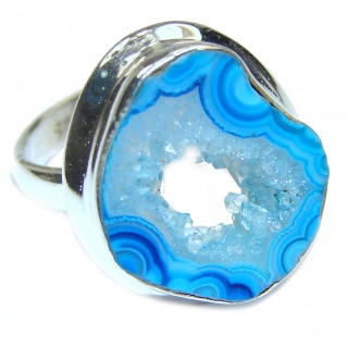 Exotic Druzy Agate Sterling Silver Ring s. 7 3/4
