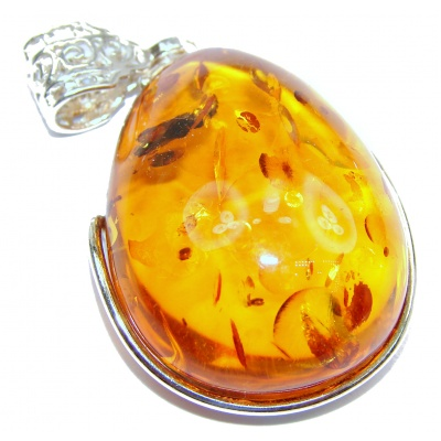 Big Natural Baltic Amber .925 Sterling Silver handmade Pendant