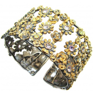 Thousands Flowers Garden Amethyst 18K Gold Rhodium over .925 Sterling Silver Bracelet / Cuff