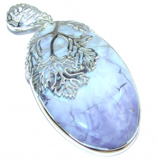 Large Amazing Beauty Tiffany Jasper .925 Sterling Silver handmade Pendant