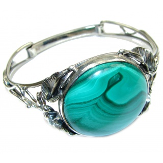 Fabulous Great Green Malachite .925 Sterling Silver handcrafted Bracelet / Cuff