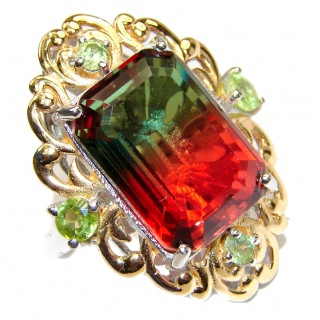 Huge Top Quality Volcanic Pink Tourmaline 18 K Gold over .925 Sterling Silver handcrafted Ring s. 6 3/4
