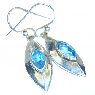Sublime genuine Blue Topaz .925 Sterling Silver handmade earrings