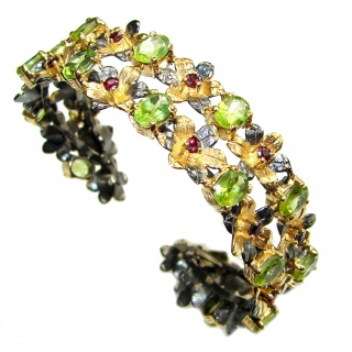 Baroque Design Genuine Peridot 18K Gold Rhodium over .925 Sterling Silver Bracelet / Cuff