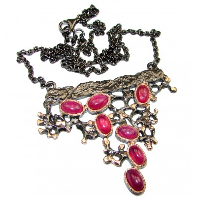 Emily Authentic Ruby 18K Gold Rhodium over .925 Sterling Silver handmade Statement Necklace