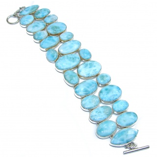 Abundance of Happiness Genuine Larimar .925 Sterling Silver handmade Bracelet