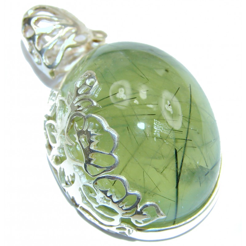 Beautiful genuine Prehnite .925 Sterling Silver handcrafted Pendant-