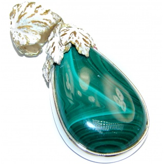 Rustic Design top Quality Malachite 18K Gold over .925 Sterling Silver handmade Pendant