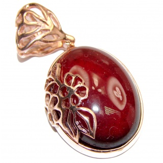 Beautiful genuine 40ctw Garnet 18ct Rose Gold over .925 Sterling Silver handcrafted Pendant