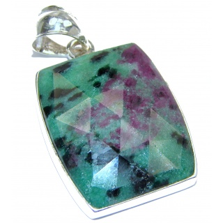 Amazing Ruby in Zoisite .925 Sterling Silver handmade Pendant