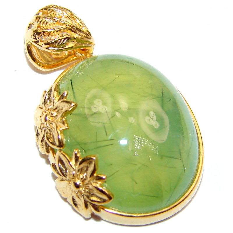 Beautiful genuine Prehnite 18ct Gold over .925 Sterling Silver handcrafted Pendant-