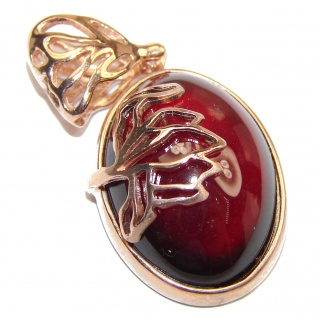 Beautiful genuine Garnet 18ct Rose Gold over .925 Sterling Silver handcrafted Pendant