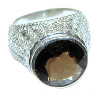 Authentic Smoky Topaz .925 Sterling Silver handcrafted ring; s. 9