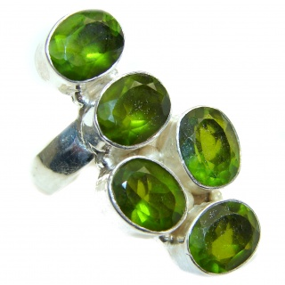 Spectacular genuine green quartz .925 Sterling Silver handcrafted Ring size 8 1/4