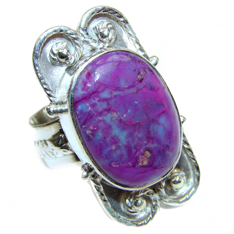 Huge Purple Turquoise .925 Sterling Silver handcrafted ring; s. 8 3/4