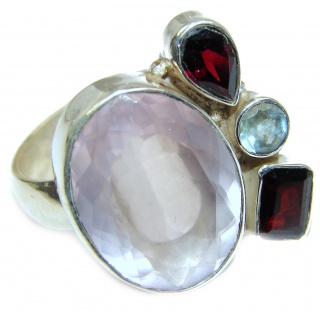 Genuine Rose Quartz .925 Sterling Silver handcrafted ring size 9