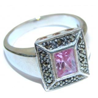 Pink Topaz .925 Sterling Silver handcrafted ring size 9