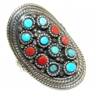 Blue Copper Turquoise .925 Sterling Silver ring; s. 7 1/4