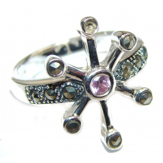 Pink Topaz .925 Sterling Silver handcrafted ring size 7
