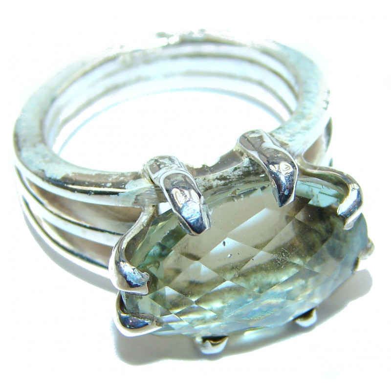 Natural Green Amethyst .925 Sterling Silver handmade Cocktail Ring s. 6 3/4