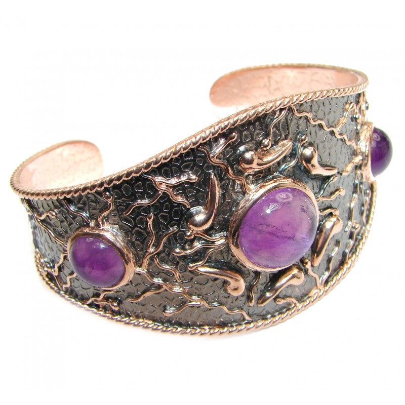 Large Genuine Amethyst 24K Gold and Rhodium over .925 Sterling Silver handcrafted Bracelet / Cuff