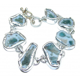 Aura Of Beauty Agate Druzy .925 Sterling Silver handcrafted Bracelet