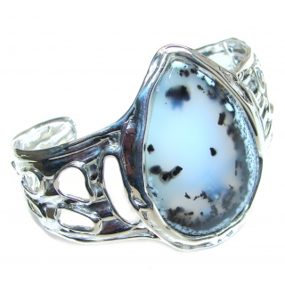 Huge Modern Design Dendritic Agate oxidized .925 Sterling Silver handcrafted Bracelet