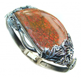 One in the World Natural Ammolite .925 Ammolite Sterling Silver handcraftedv Bracelet