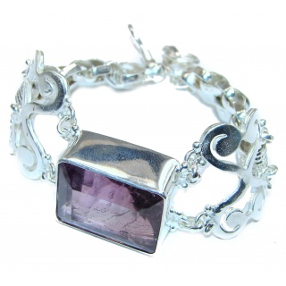 Large Fancy Amethyst .925 Sterling Silver handcrafted Bracelet