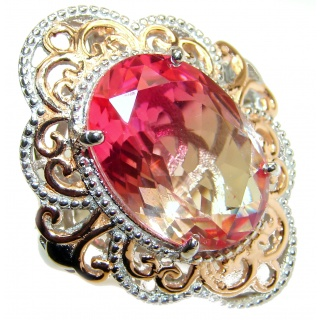 Huge Top Quality Volcanic Pink Tourmaline 18 K Gold over .925 Sterling Silver handcrafted Ring s. 8 1/4