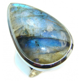 Fire Labradorite .925 Sterling Silver Bali handmade ring size 7 adjustable