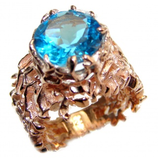 Poseidon Swiss Blue Topaz 18K Gold over .925 Sterling Silver handmade Ring size 6 3/4