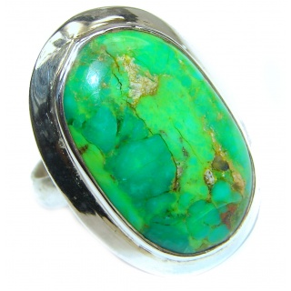 Energizing green Turquoise .925 Sterling Silver handmade Ring size 8 1/2