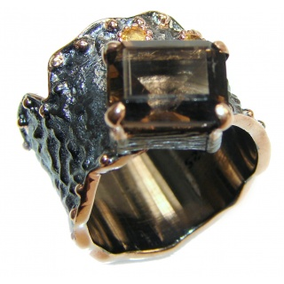 Authentic Smoky Topaz 18K Gold over .925 Sterling Silver handcrafted ring; s. 7