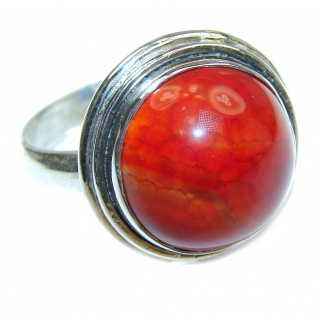 Beautiful Mexican Fire Agate Sterling Silver ring s. 8 3/4