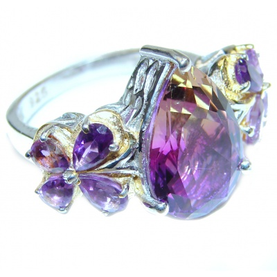 Genuine 25ct Bi- color Ametrine .925 Sterling Silver handcrafted ring; s. 7 3/4