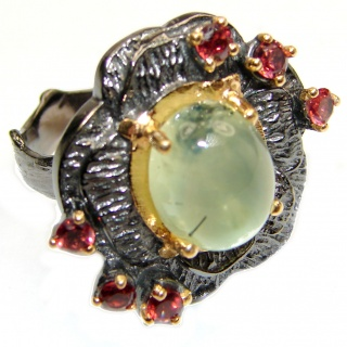 Natural Prehnite 14K Gold Rhodium over .925 Sterling Silver handmade ring s. 8