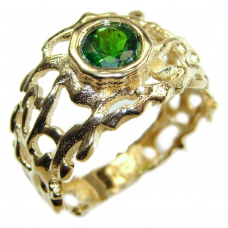 Natural Chrome Diopside 24K Rose Gold over .925 Sterling Silver Statement ring size 8