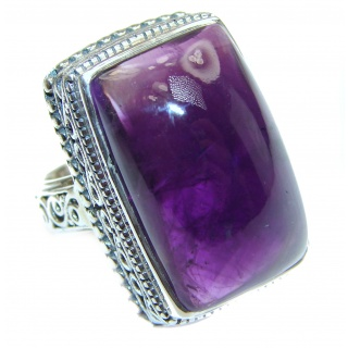 Large Spectacular genuine Amethyst .925 Sterling Silver handcrafted Ring size 6