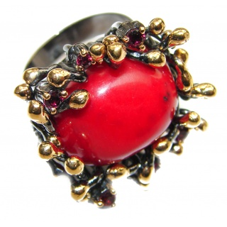 Natural Fossilized Coral 18K Gold over .925 Sterling Silver handmade ring s. 6 adjustable